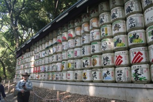 Row upon row of empty sake casks. Tribute to Emporer Meiji who ruled Japan in the 1860's when it first opened to the west. Th Meji clan family business was saki..