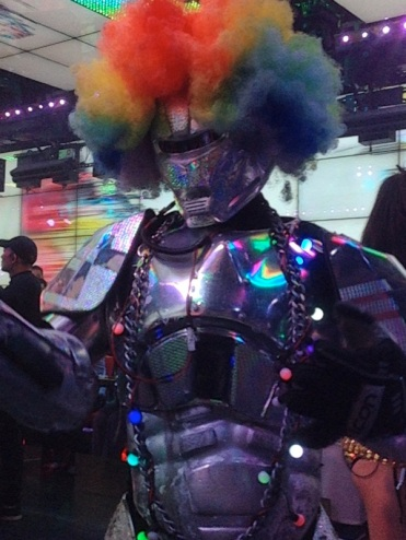 Disco rollerskating robot! With Party Hair!