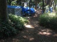 We went to Yoyogi Park and on our way in Marc pointed out this tent city set up for the homeless to live in the park. There were about 50 tents all together. Some had bikes. Some had a stove or a generator. Homeless in Tokyo are treated with more respect than they are in the US.