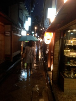 Kyoto at night. Out to dinner in the rain. Down a back alley loaded with restaurants and a few Geisha. Blade Runner much?