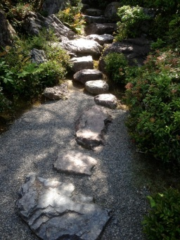 Rock path around the garden.