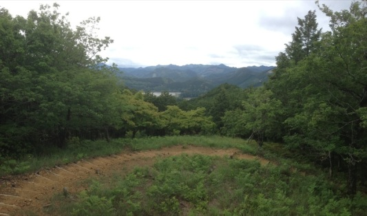 This view overlooks the grounds that had the biggest shrine ever built on it. But floods washed it away. Now, there is a giant gate (also the biggest gate in Japan) marking the spot where the temple stood. I you look through the trees to the water you can just make it out.