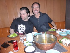 And speaking of company. Marc decided he wanted to show us Shabu Shabu. A traditional Japanese delicacy. There is a burner on the center of the table where a pot of broth is heated.
