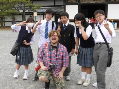 I didn't get far before a young girl approached me and asked if I wouldn't mind if her and her classmates could take their picture with me. I guess, out in Kyoto, foreigners are a rarity.